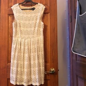 Connected Apparel- White Lace Zip-Up Dress